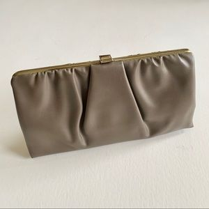 Vintage Taupe Vinyl Baguette Clutch With Chain